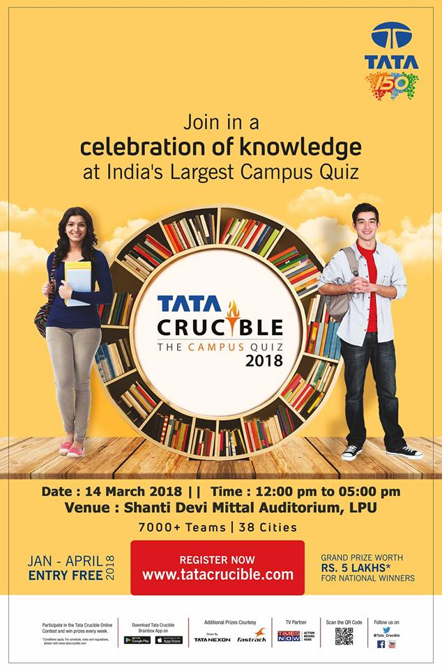 """Grand Quiz """"Tata Crucible"""" to be held at LPU on 14th March"""