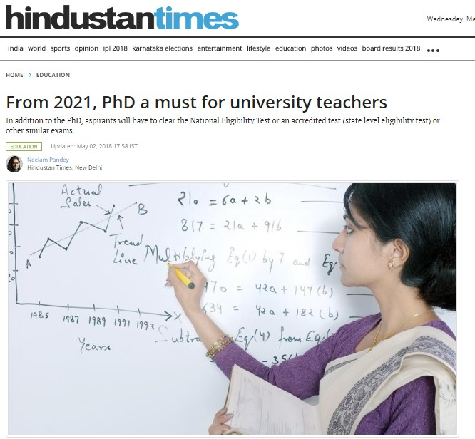 From 2021, PhD a Must for University Teachers