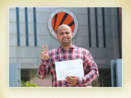 Abhilash whose startup Sabstore got recognized among student start ups by gov't of India