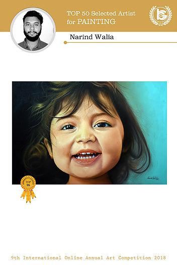 LPU Fine Arts Student Narind Walia Awarded the 'International Best 50 Painting Award'